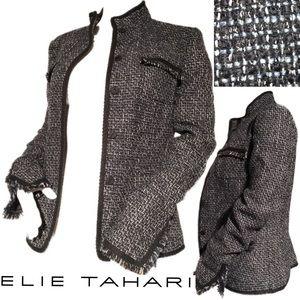 EUC Tahari black and blue Tweed blazer. Baby blue